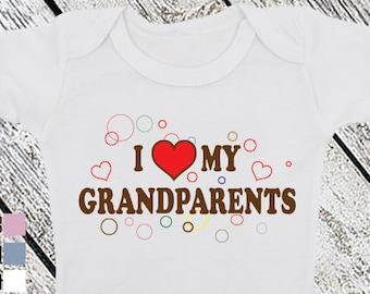 Bodysuit or Toddler Shirt, I Love My Grandparents, Baby Bodysuit, Baby Shower Gift, Girls, Boys