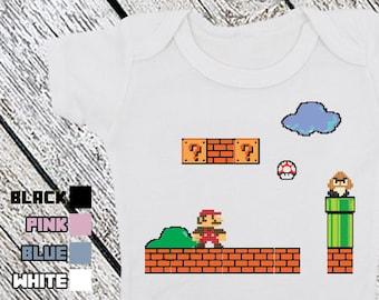 Bodysuit or Toddler Shirt, Super Mario Brothers, 8 Bit Retro Baby Bodysuit, Baby Shower Gift, Girls, Boys