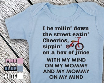 Bodysuit or Toddler Shirt, Rollin Down The Street Eatin Cheerios Sippin A Box Of Juice, Baby Bodysuit, Baby Shower Gift, Girls, Boys