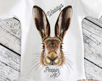 Waddya Peepin At Bodysuit, Funny Easter Shirt, Real Easter Bunny, Easter Outfit, Easter Bunny for Babies, Toddlers, One Piece