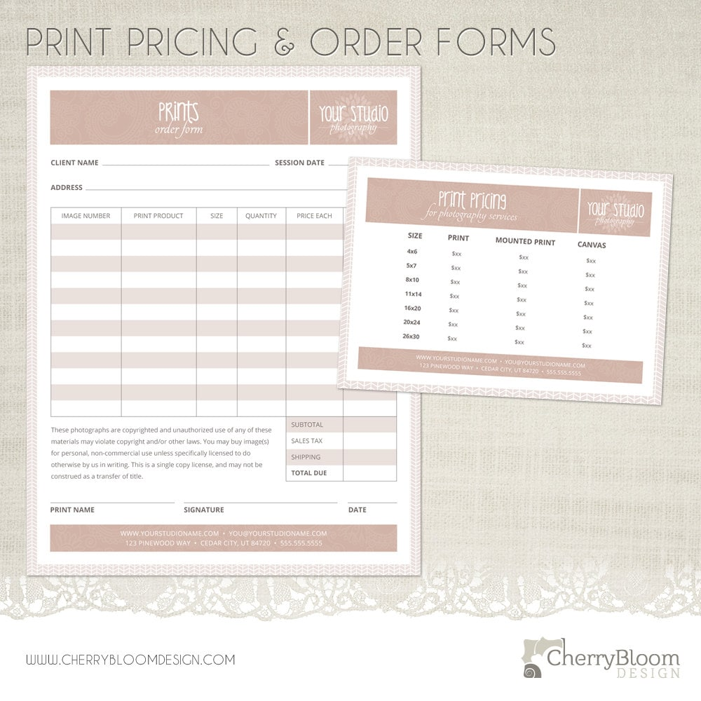 Print Order Form And Print Pricing Template For Photographers Etsy
