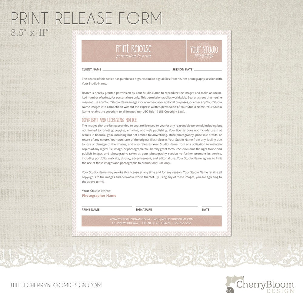 Print Release Forms | Print Release Form Template For Photographers Photographer Etsy