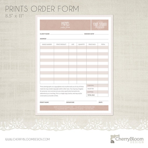 Items similar to prints order form template for photographers items similar to prints order form template for photographers photographer business client forms f02 on etsy maxwellsz