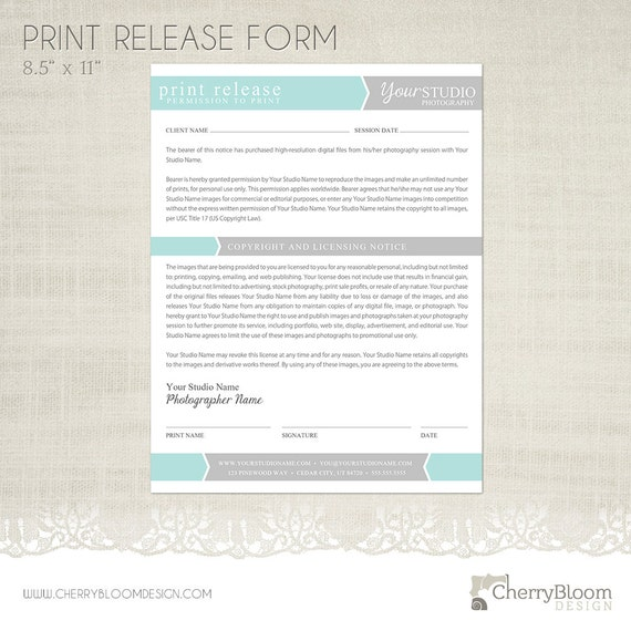 Print Release Form Template For Photographers Photographer Etsy