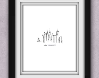 New York City Skyline Minimalist Print