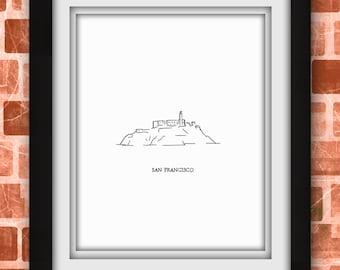 Alcatraz San Francisco Minimalist Print