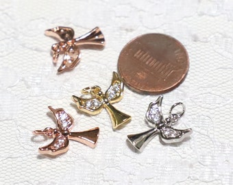 28x16mm 18K Gold Filled Angel Wings Charm Connector CZ Connector Charms Cubic Zirconia Angel Wing Charm CN263-E1211 Pave Connector