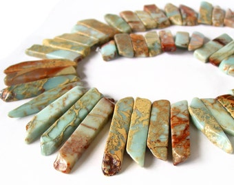 Jasper Flat Gemoetric Nature Stone Beads 40x20mm Sold Per Strand