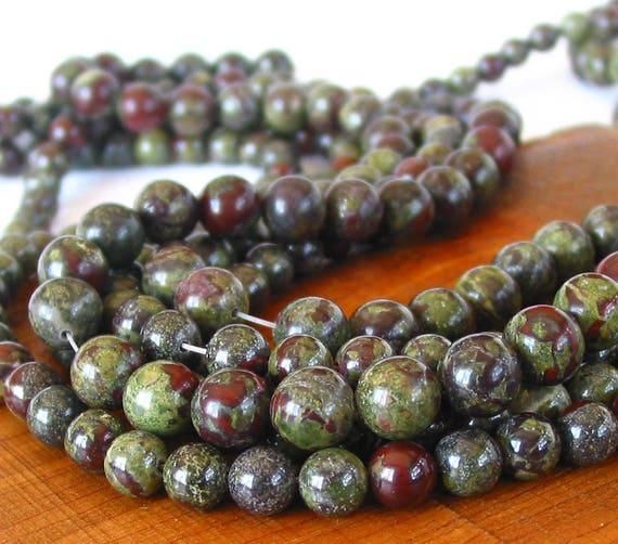 10 mm 10 Pretty Round Dragon Blood Jasper Gemstone beads