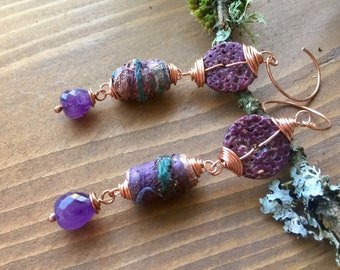 Purple Haze- Amethyst, Criffles,and tyvec beads and raw copper earrings .