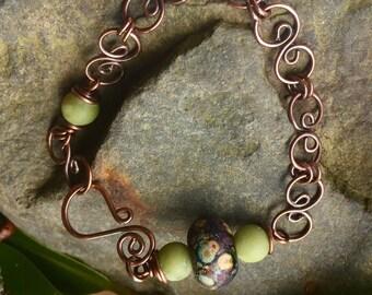 Moss,green opal hand forged cooper bracelet handmade