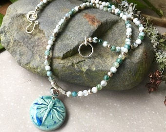 Dragonfly Days , Bo Hulley Ceramic focal,agate and silver necklace
