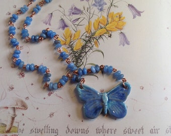 Little Blue Flutterbye - ceramic BoHulley butterfly with copper and agate chain
