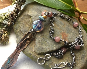 The Sword that was Broken.    One of a Kind,  Tolkien,bronze,pendant ,hand crafted Sterling Silver chain ,Necklace