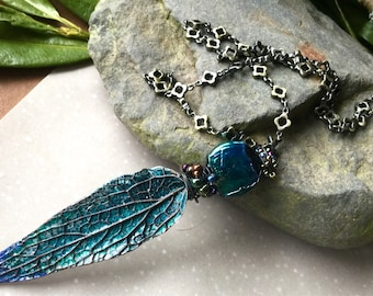 Underworld - Helen Backhouse leaf pendant with Clare Scott lampwork dark and mysterious