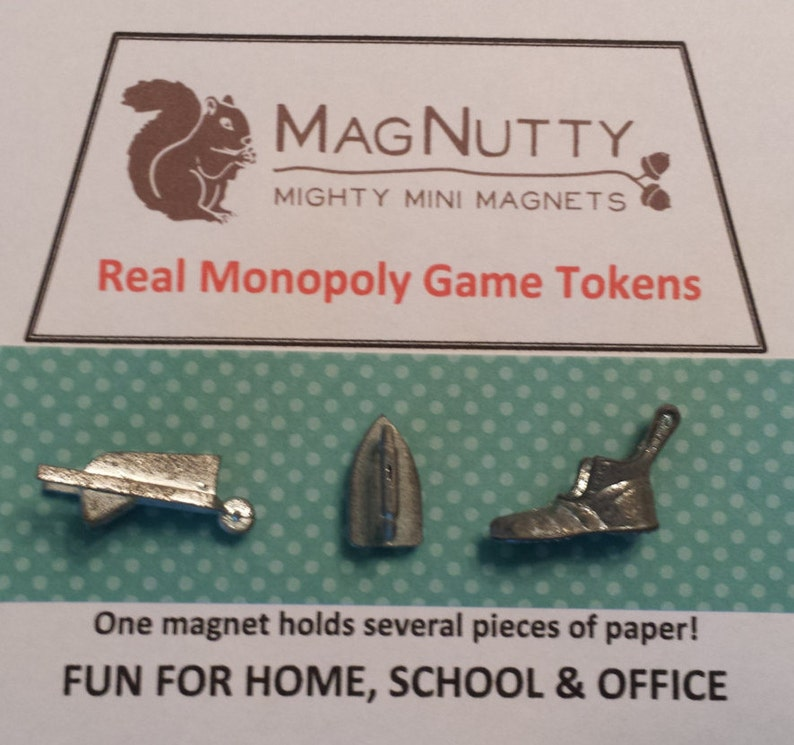 Classic Monopoly Tokens & Houses/Hotels: super-strong MagNutty image 0