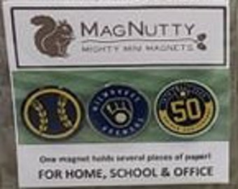 Milwaukee Brewers super-strong magnets - 3-pack