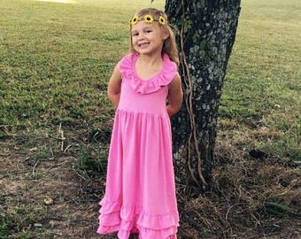 Gorgeous Bubblegum Pink Maxi Halter Dress for Infants, Toddlers and Big Girls  SALE, NEW MARKDOWN
