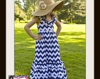 ONLY 2 LEFT ~~ Beautiful Baby Girls, Toddler Girls and Big Girls Navy Blue and White Chevron Maxi Style Halter Tiered Ruffled Dress