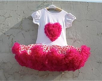 Hot Pink Chiffon Ruffle Heart Petti Dress