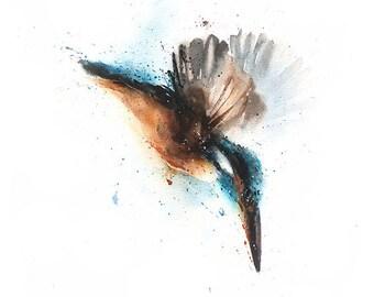 KINGFISHER BIRD PRINT - watercolor kingfisher art print, bird art collector, bird print, bird artwork, watercolor bird decor, bird wall art