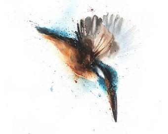 WATERCOLOR KINGFISHER PAINTING - original watercolor bird painting, bird collector, bird gift, bird lover, kingfisher artwork, flying bird