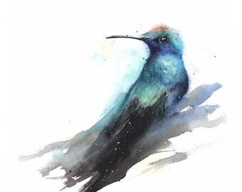 HUMMINGBIRD ARTWORK - bird decor, kitchen decor, bird wall art, bathroom decor, kitchen art, bathroom art, bird art, original art