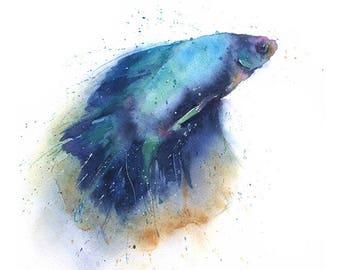 BETTA FISH WATERCOLOR - betta fish watercolor, betta fish painting, fish decor, watercolor fish, original watercolor painting, fish artwork