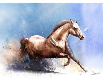 WATERCOLOR HORSE PRINT - horse artwork, equestrian decor, wild horse wall art, horse decor, animal print, horse watercolor painting