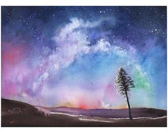 SPACE ART PRINT - watercolor landscape, night sky art, aurora borealis, watercolor universe, watercolor tree, starry night, nebula painting