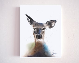 Deer watercolor painting print by Eric Sweet - doe, wall art, home decor, gift for her, nursery room, nature, forest, buck, woodlands