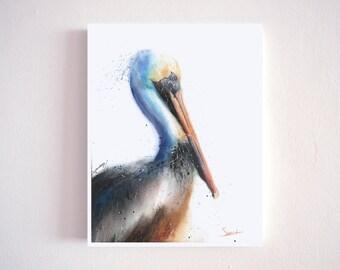 Pelican watercolor print, pelican painting, pelican decor, pelican portrait, pelican wall art, pelican lover gifts, bird art, bird paintings