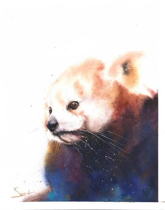 roter panda malerei aquarell panda kunst tierische aquarell etsy. Black Bedroom Furniture Sets. Home Design Ideas