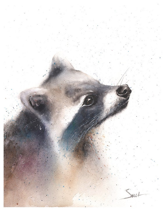 Raccoon watercolor Home Wall Decor Woodland animals Giclee Print Raccoon  Watercolor Illustration