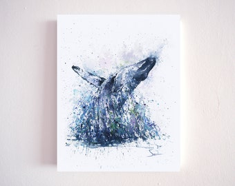 Humpback whale watercolor print by Eric Sweet - home decor, wall art, gift, sea life, sea animal, ocean, wildlife, artwork, picture, nature