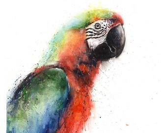 PARROT ART PRINT - watercolor parrot print, macaw painting, tropical bird print, bird decor, parrot decor, parrot wall art, bird painting