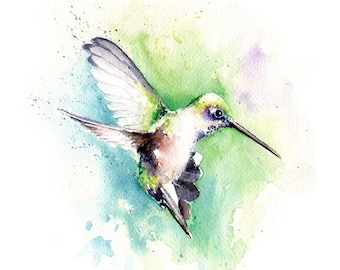 HUMMINGBIRD ART PRINT- hummingbird watercolor, hummingbird gift, bird art, hummingbird lover, bird watercolor, hummingbird wall art