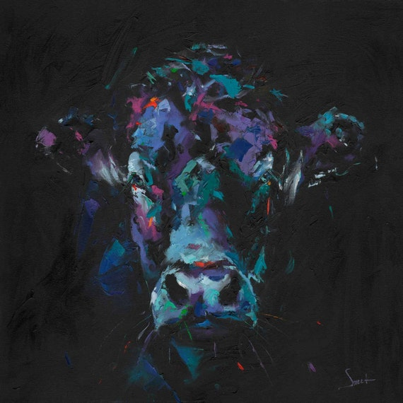 cec9cd416e4 COW OIL PAINTING abstract cow painting modern oil painting