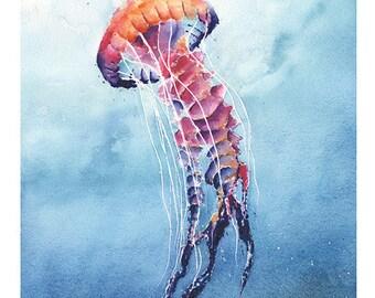 JELLYFISH ART PRINT - watercolor jellyfish painting, jellyfish decor, jellyfish wall art, jellyfish lover gift, sea life art, sea life decor
