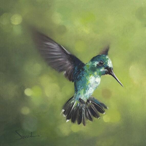 HUMMINGBIRD PRINT Hummingbird Painting Bathroom Decor