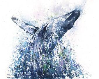 WHALE ART PRINT - watercolor whale painting, humpback whale print, whale decor, whale wall art, whale gift, sea life art, sea animal decor