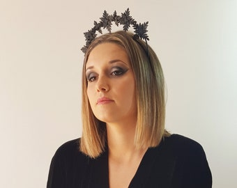 Venus Black leather fascinator halo crown