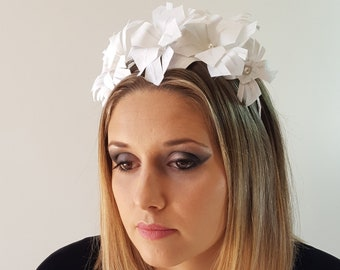 Flower linnen bridal crown