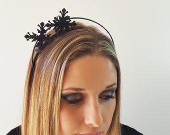 Julia black Leather flower fascinator headpiece