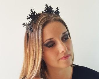 Brooklyn Black leather flower fascinator headpiece