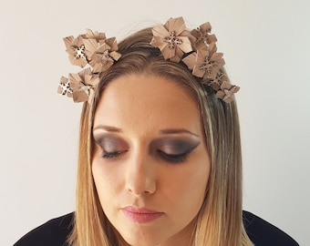 Bridal leather flower fascinator headpiece