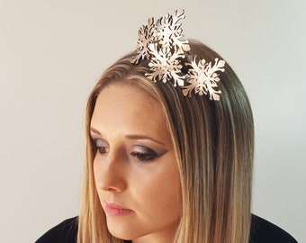 Sienna rose gold leather flower fascinator