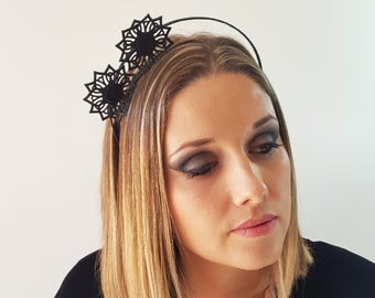 Apollo black leather flower fascinator