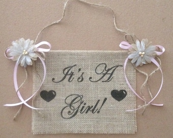 Primitive It's A Girl Boy Burlap Flower Banner Sign Baby Shower Reveal Rustic Country Shabby Chic