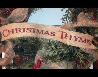 Primitive Christmas Burlap Ribbon Banner Christmas Thyme Ornament Garland